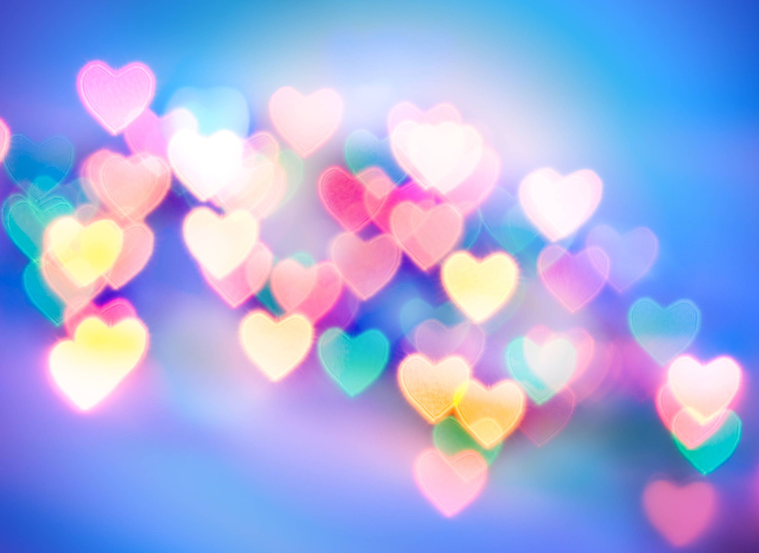 Background of multicoloured abstract hearts